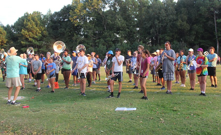 Starr's Mill Marching Band practices ahead of the competition season. They are going for a clean sweep of the season, looking to win all three competitions, which hasn't happened since 2008.