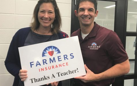 This month's Golden Apple winner Hope Via stands with Tim Monihan from Farmers Insurance. Via. Via teaches early childcare classes at the Mill.