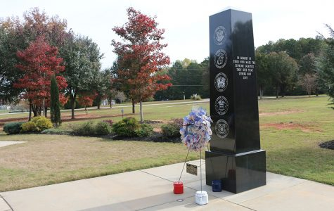 Nov. 11, 2019 - Memorial at Kiwanis Park displayed with a red, white, and blue wreath in honor of Veteran's Day.