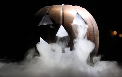 Oct. 10, 2019 - Ghosty white smoke billowing out of the iron pumpkin's eyes and mouth. The cooler the dry ice is the more reactant it is with the water.