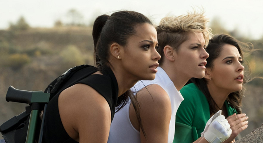 """Ella Balinska, Kristen Stewart, and Naomi Scott prepare to fight. """"Charlie's Angels,"""" released Nov. 15, is an action-packed movie that will have you dying laughing and on the edge of your seat."""