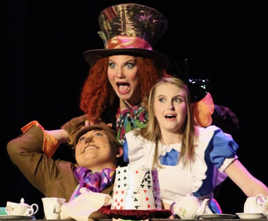 Erin Chasey, Celeste Bouillon, and Sydney Turnier (left to right) perform their parts on stage during the Region 3-AAAAA One Act competition. On Oct. 26, the Thespians competed at Whitewater High School where they placed third out of the five schools in Fayette County. McIntosh won the event.