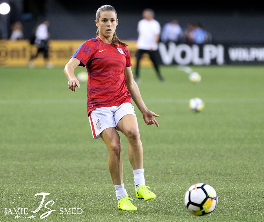 Kelley O'Hara playing in 2017 in a game against New Zealand. O'Hara has teamed up with AFC Lightning to fund a scholarship for student-athletes to achieve their educational and athletic goals.