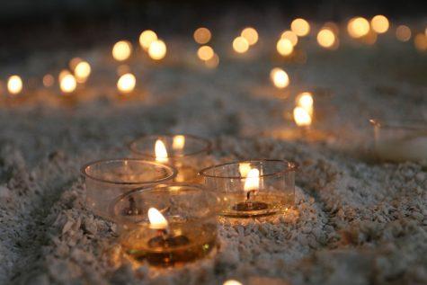 Feb. 20, 2020 - Candles lit at Hallgrimskirkja in Reykjavik, Iceland.