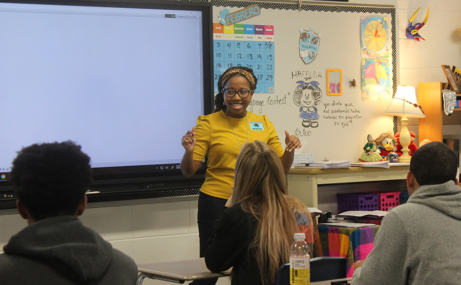 Azell Francis speaks to Interact Club about the next level of their club, Rotaract Club. Her first experience in the United States came about through Rotary, the level above Rotaract.