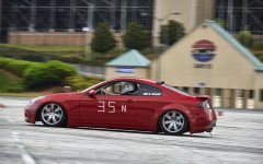 "Senior Dean Rowell participates in an autocross event at Atlanta Motor Speedway. ""It's a motor sport that emphasizes driver skill and agility more than power or speed,"" Rowell said. Though his car, a 2004 Infiniti G35 coupe, is used for agility events, it can reach a top speed of 155 miles per hour."