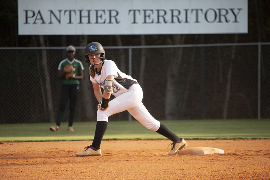Panther alumnae Paige Andrews (class of 2020) aboard second base awaiting the next hit. Replacing last year's seniors is not the biggest challenge facing softball and the rest of the fall sports teams. The biggest question relates to COVID-19 and if teams will even have a season.