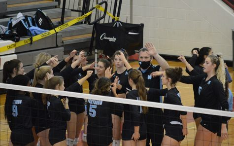Lady Panthers gather together after a timeout. Starr's Mill entered the region tournament the no. 6 seed, but made their way into the region's top four in order to qualify for the state playoffs. The Panthers defeated Woodward Academy 3-1 in the first round.