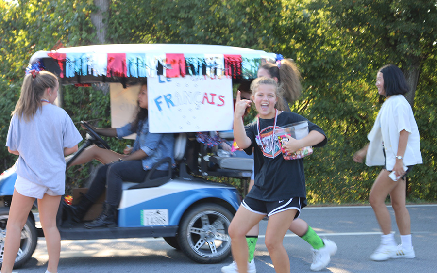 Students from the Starr's Mill French Club participate in last year's homecoming parade. This year's theme is cartoons and TV. Aspects of this year, however, have changed. No dance or parade will be held, and dress up days and hallway decorations are limited.