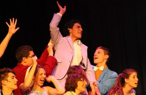 "Foreign exchange student and alumnus Mario Garcia pictured in a Starr's Mill performing arts production with fellow actors. Garcia was involved in a variety of student activities during his time on the exchange program. He stated that an amusing aspect he found about American schools was that they reminded him of ""High School Musical."""