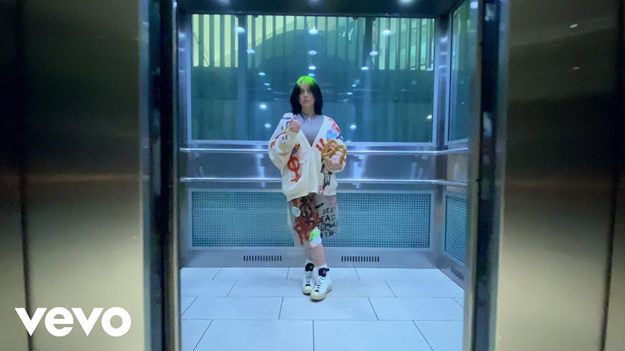 "Billie Eilish in the music video for ""Therefore I Am."" The song was released this past Thursday as well as the video filmed solely on an iPhone."