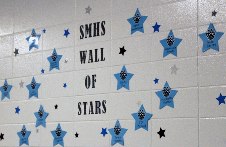 "As part of the P.B.I.S. initiative, Starr's Mill rewards positive behavior -- respect, accountability, and responsibility -- by recognizing students with a nomination or  ""caught ya."" ""Caught ya"" students also receive a star to go up on the ""Wall of Stars"" in the 800 hallway."