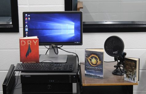"Recording area where media specialist Rick Wright will help faculty and staff record episodes of a new podcast, ""First Chapter Fridays."" Wright brings in participants to discuss their favorite books, engage with the school, and reach out to students learning virtually."