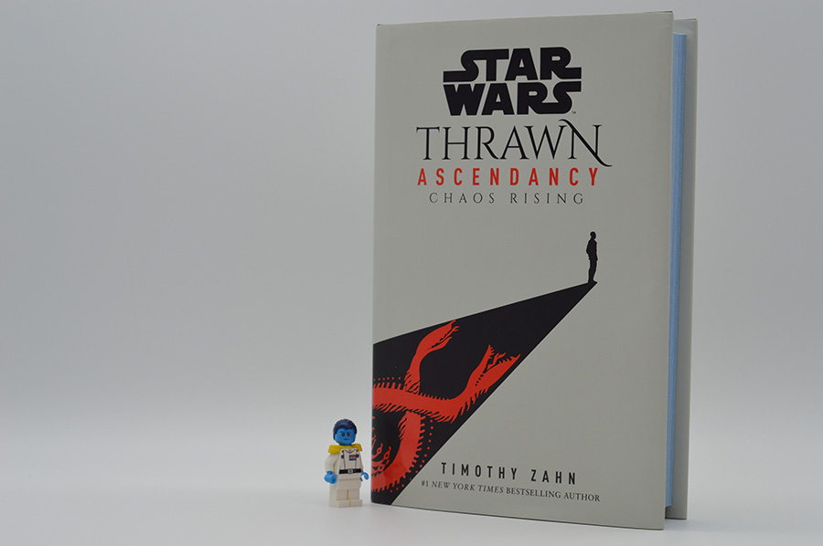 """Thrawn Ascendancy: Chaos Rising"" on display with Lego minifigure of Thrawn himself. The book is yet another masterfully crafted work of Timothy Zahn, the accomplished sci-fi author."