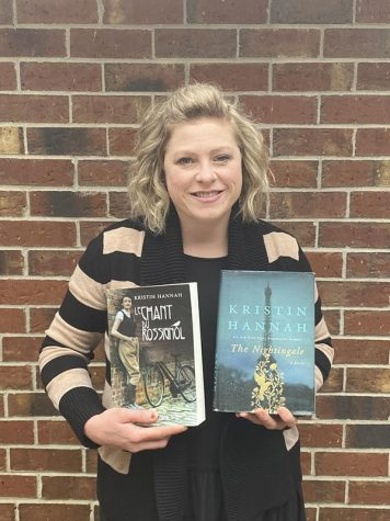"French teacher Jill Snelgrove read ""The Nightingale"" by Kristian Hannah. The realistic-fiction book is the story of two sisters in France during World War II."