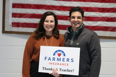 This month's winner of the Farmers Insurance Golden Apple Award is Ashley Collins. She was nominated by fellow teacher Emily Sweeney for her ability to create relationships with her students and make them feel at home.