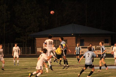 Senior Austin Morris and senior Santi Bondulich challenge one another for the ball. Starr's Mill earned its fourth consecutive win Tuesday night in a 2-1 victory over visiting Marist.
