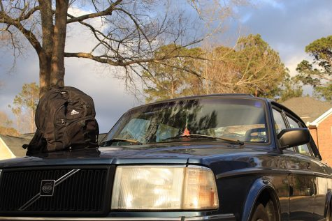 Feb. 11, 2021 - Backpack sits on a car hood prior to winter break.