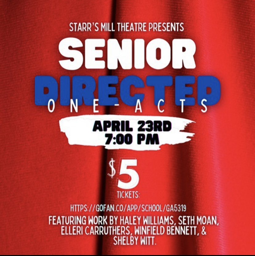 The Starr's Mill drama department is putting on their annual senior directed shows, but this year there will be a $5 admission to help raise money for a new sound system. Tickets are available at GOFAN.com. They also have a Donors Choose page to help pay for the system.
