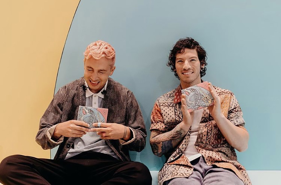"""Frontman Tyler Joseph and drummer Josh Dun hold copies of their new album, """"Scaled and Icy."""" Released on Friday, their sixth studio album brings optimism to the music industry during dark times while concluding frontman Tyler Joseph's intricate and detailed storyline that spans four albums."""