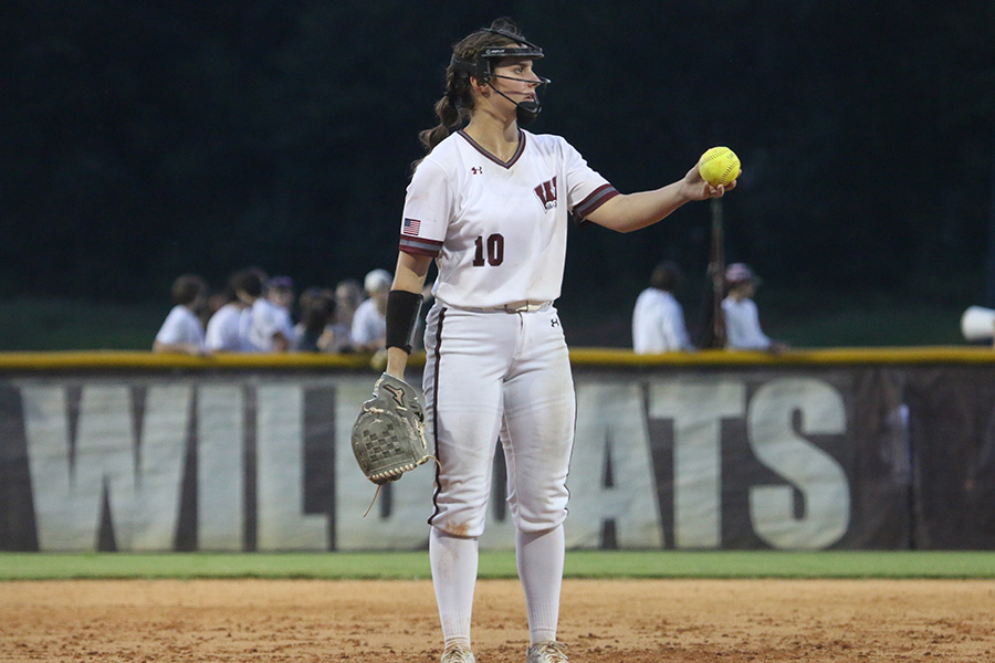 """Whitewater junior pitcher Makayla Coffield pauses before a pitch. """"Its not always great to win,"""" head coach Peyton Dean said. """"You learn more when you lose at times and you start breaking down the team a little bit as far as position-wise but also humility."""""""