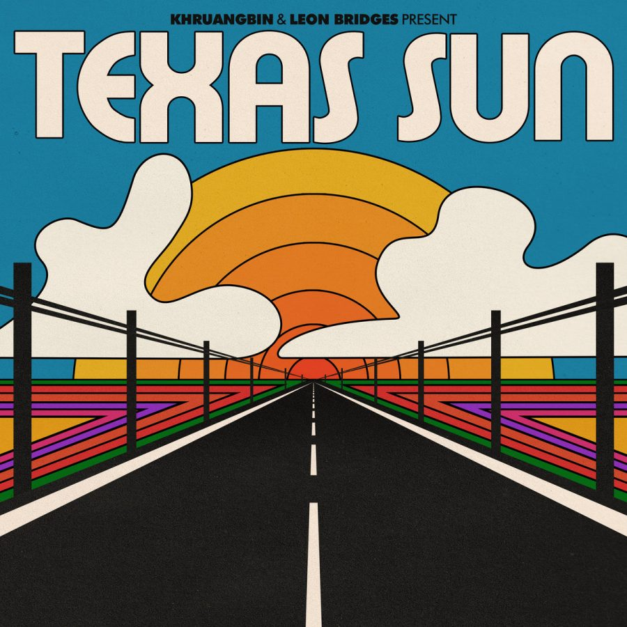 """Album cover for the collaborative EP named """"Texas Sun."""" Created by both R&B artist Leon Bridges and musical trio Khruangbin, the song features notes of soul and comfort. """"Texas Sun"""" is the perfect homage to the nostalgic feeling felt by the cross-state drive through the group's home state of Texas."""