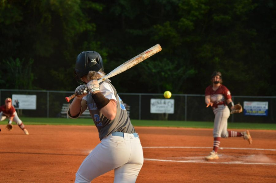 """Senior centerfielder Sydney Blair bats against Northgate. """"Once we see better pitching and we get more comfortable in the box and some people get more comfortable in their new positions and the line-up, it'll come,"""" varsity softball head coach Peyton Dean said."""
