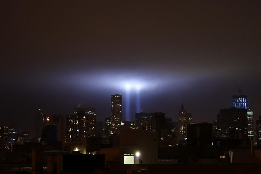 Tribute in Light as seen from the East Village in Manhattan on the 10th anniversary of 9/11.