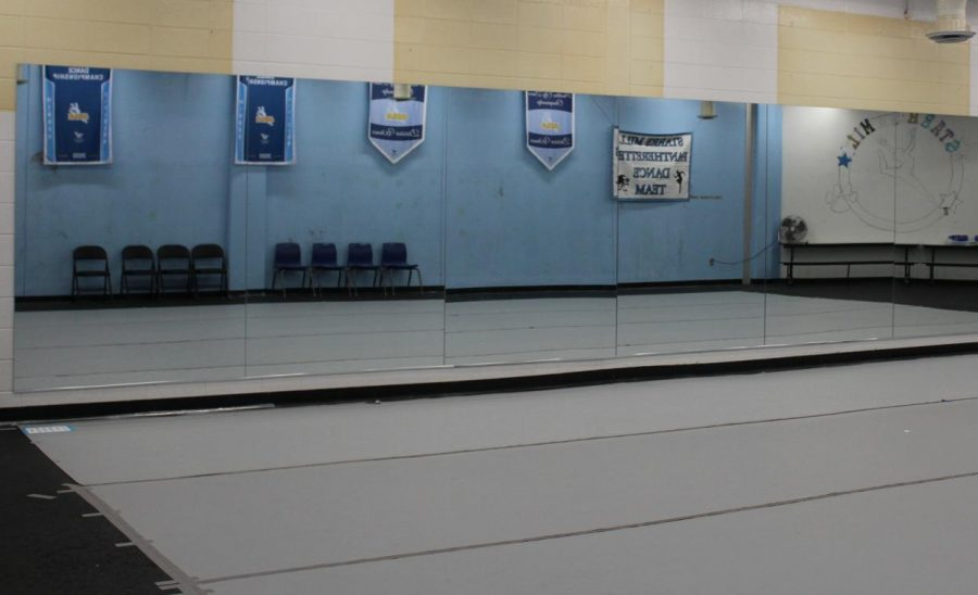 """With the addition of mirrors, converting the old weight room into a studio for the Pantherettes dance team is now complete. """"Having the mirrors and space we need has enabled us to fix formations as needed,"""" co-captain and senior Rylie Hamilton said."""