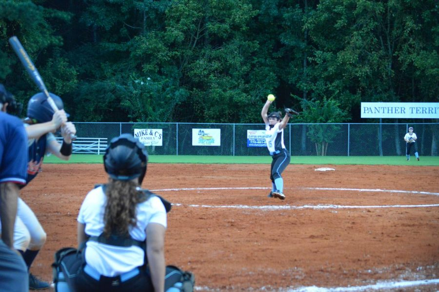 Pitcher Sophia Lombardo delivers a pitch. Through the first two innings, Lombardo recorded five strikeouts.