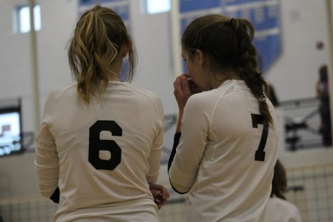 Quinn Myers and Shannon Callahan prepare for the next play. The Panthers lost 2 out of 3 matches against some tough schools.